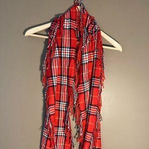 Coach Leatherware cashmere plaid fringe scarf